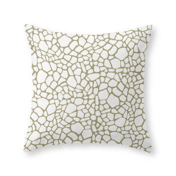 Society6 Gold White Giraf Throw Pillow