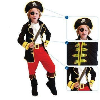 PEAPON Children Boys Pirates Costume Caribbean Pirates Cosplay Clothing Set Carnival Performance Costumes