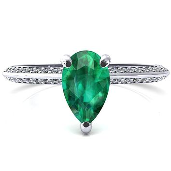 Nancy Pear Emerald 3 Prong 1/2 Eternity Diamond Knife Shank Accent Engagement Ring