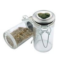 Glass Stash Jar - Green Heart - 75ml Storage Container - Secret Stash Box for Custom Herb Grinder - Stay Fresh Herbs 1/6 oz.