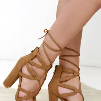 Taking My Turn Camel Suede Lace-Up Heels