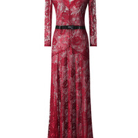 Burgundy V-neck Crochet Lace Long Sleeve Bow Tie Maxi Pleated Dress