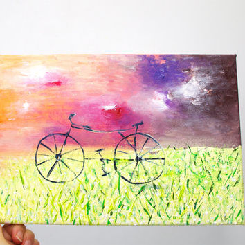 Bicycle wall art Bike canvas Bicycle canvas art Bicycle painting Bike painting on canvas Bicycle art Home decor Wall decor Wall hanging