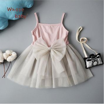 Baby Dresses For Girls Cotton Newborn Chiffon Cute Sling Bow Infant Girls Dress Beautiful Princess Party Birthday Clothes