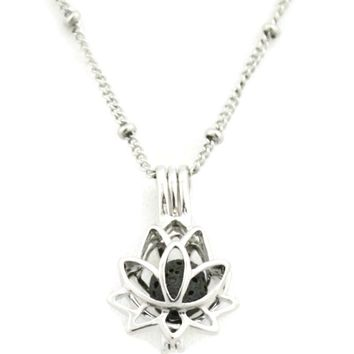"""Glory"" Lotus Flower Silver Essential Oil Diffuser Necklace- 18"""