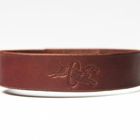 Chestnut Brown Leather Choker - Latigo -  Nickel Fasteners