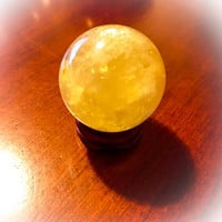 Citrine Quartz Crystal Sphere (One) with Stand. Natural Healing Crystal Ball. FREE Bag & Affirmation Card picked just for you. Crystal Ball