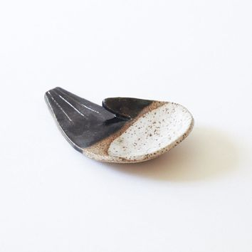 Open Palm Incense Holder - black + raw + white