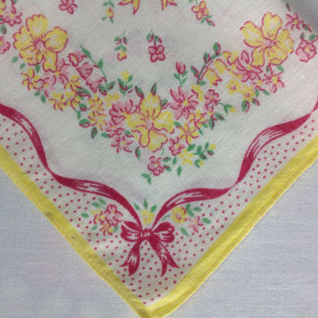 Vintage 40's Handkerchief Hankie Yellow Buttercups and Pink Ribbon
