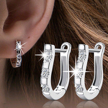 Noble 1Pair New Silver Plated Women White Gemstones Women's Hoop Earrings+ Christmas Gift Box