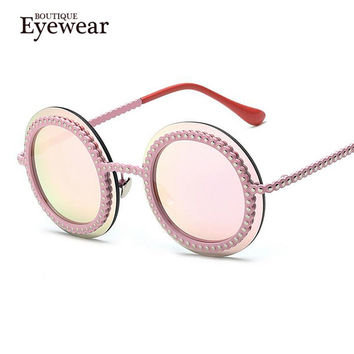 BOUTIQUE Women Round Bead Frame Sunglasses Luxury Brand Designer Vintage Bead Round High Quality H1713