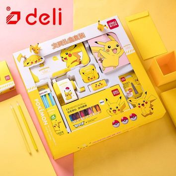 Deli  Stationery Set Student Stationery Pencil/Pencil Sharpener/Notebook/Color Pencil Learning Kits School SuppliesKawaii Pokemon go  AT_89_9