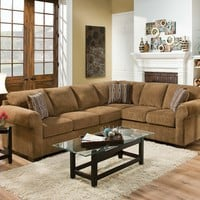2 pc Torilyn collection lola walnut fabric upholstered sectional sofa set with rounded arms