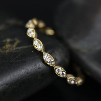 Leah 14kt Thin Yellow Gold Leaves Diamonds Eternity Band (Other Metals and Stone Options Available)