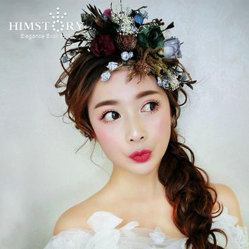 HIMSTORY Artificial Flowers Hair Accessory Pine Nuts Bouquet DIY Wreath Wedding New year Christmas Hairpins Hairwear