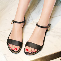 Ankle Strap Genuine Leather Women Flat Sandals 7833