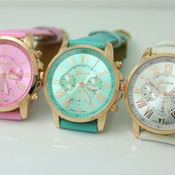 Amazon.com: 3pcs Fashion Leather Geneva Watch Wristwatches Women Girl Dress the Roman Quartz...