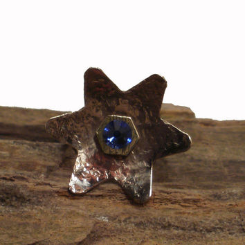 Hammered Copper Ring Flower stlye Capri Blue by ShellsNStuff