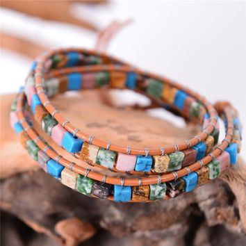 New Women Leather Bracelets High End Mix Natural Stones 2 Strands Wrap Bracelets Vintage Weaving Bead Bracelet Friendship