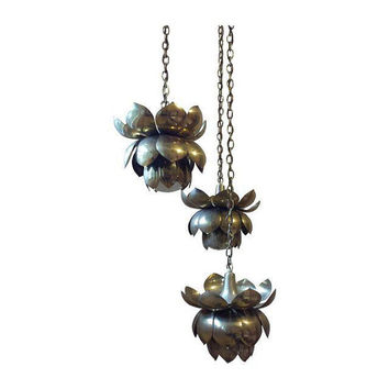 Triple brass lotus pendant lamp