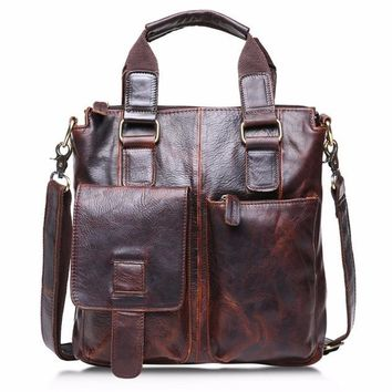 Vintage Buffalo Leather Messenger Satchel Laptop Briefcase Men's Bag Crazy Brown