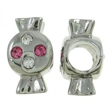 Stainless Steel Pink And Clear Rhinestone Candy Charm Bead