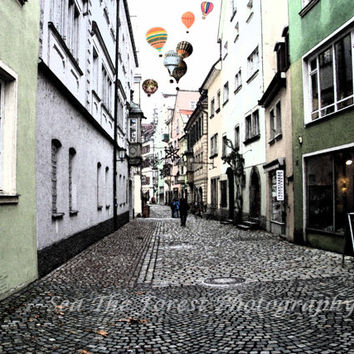 Hot Air Balloon Photography, Fine Art Photograph, Streets of Germany, European Wall Art, Pink, Green, Home Decor, Antique Modern Photograph