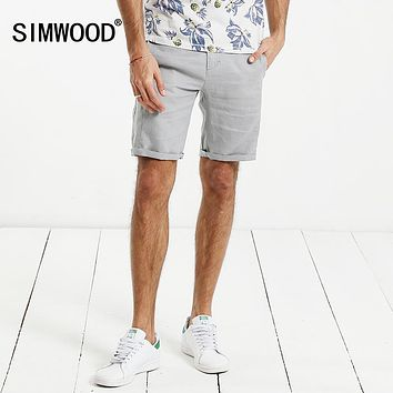 SIMWOOD 2017 Summer Casual  Shorts Men 100% Pure Linen Thin Breathable Slim Fit Plus Size XD017003