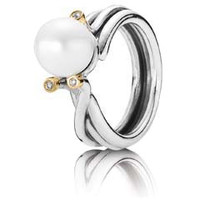 Authentic Pandora Jewelry - Woven Splendor w-Diamond Solitare Pearl Ring