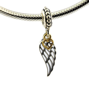 DIY Fits Pandora Charms Bracelets Angel Wing Beads with 14K Real Gold Heart 925 Sterling Silver Jewelry Free Shipping