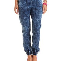 Acid Wash Denim Jogger Pants by Charlotte Russe - Med Acid Wash