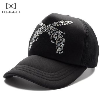 LMFUS4 2016 Sale Limited Cool Summer Rhinestone Women Baseball Cap Guns Pattern Truck Breathable Mesh Casual Hat Adjustable Snapback