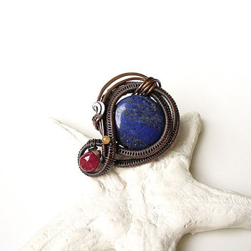 Lapis Lazuli Ruby Ring, Copper Adjustable Ring, Wire Wrapped Woven Ring, Dark Blue Ring