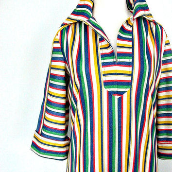 1970s Nautical Dress / 70s dress / striped dress / aline / beach cover up  / resort wear / womens day dress / summer fashion / large Xl