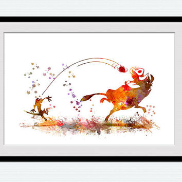 Timon and Pumbaa watercolor print Disney poster Lion king decor Lion king art illustration Home decoration Nursery room wall art W447