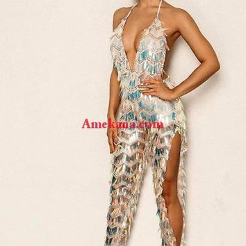 Dare Me Silver Fringe Jumpsuit(Ready to ship)