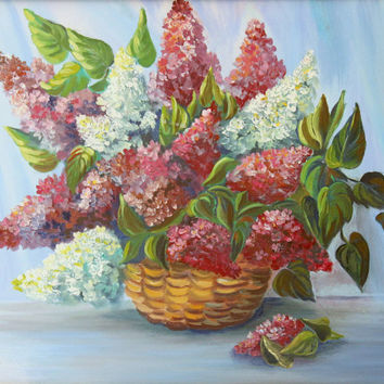 Purple Flowers Lilac in a basket * Original Oil Painting * Beautiful Painting On Canvas * Handsome Wall decor * Ready to ship