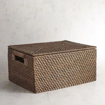Lombok Natural Wicker Lidded Basket
