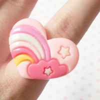 Fairy Kei Pastel Pink Heart Rainbow Ring