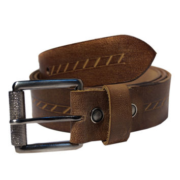 Men's Leather Hand Tooling Punched Belt