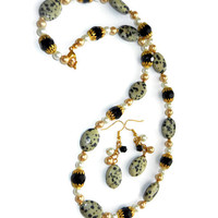 Dalmatian Jasper, Leopard Print and Pearls Beaded Necklace and Dangle Earring Set