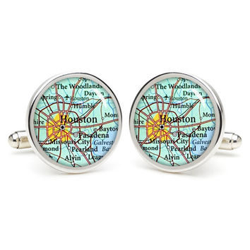 Vintage  Houston  map cufflinks , wedding gift ideas for groom,gift for dad,great gift ideas for men,groomsmen cufflinks,silver cufflinks,