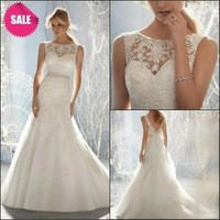 Sheer Neck Lace Wedding Dresses with Beads Bridal Gowns Custom Size 2 4 6 8 10