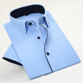 New Arrival Men's Twill Short Sleeve Dress Shirts Business Formal Shirts For Men Fashion Clothes