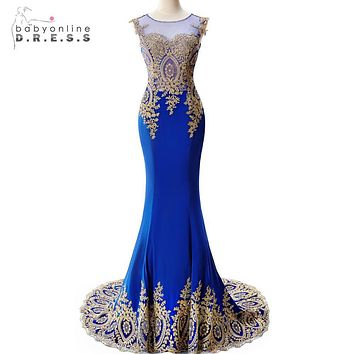 Real Photo Royal Blue Long Mermaid Evening Dresses 2017 Sheer Back Gold Applqiue Evening Gown Formal Dress Prom robe de soiree