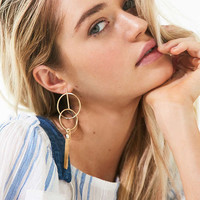 18k Gold-Plated Brass Ring Tassel Drop Earring | Urban Outfitters