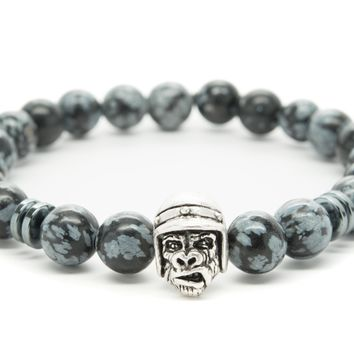 Black and Gray Obsidian Gemstones Beaded Bracelet for Men and Women