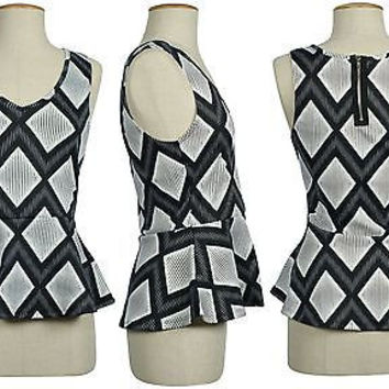 Womens Sleeveless Top Ladies Stretch Bodycon Frill Shift Peplum Zip Back Top
