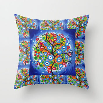 tree cushions, cushion cover with tree of life design on it, blue cushion covers, modern cushion covers, modern art for couch, modern art