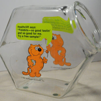 Rare Vintage 1980s Promo Heathcliff Cat Glass Fish Bowl Felobits